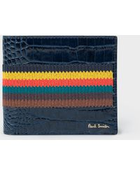 Paul Smith - Blue 'Bright Stripe' Mock-Croc Leather Billfold Wallet - Lyst