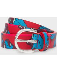 Paul Smith - Red Floral Print Leather Belt - Lyst