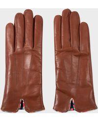 Paul Smith - Tan Lambskin 'Swirl' Trim Gloves - Lyst