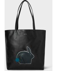 Paul Smith - Black Rabbit-Pocket Leather Tote Bag - Lyst