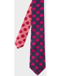 Paul Smith - Navy And Fuchsia Polka Dot Contrast-Tip Silk Tie - Lyst