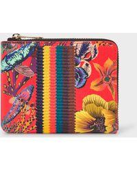 Paul Smith - Red 'Ocean' Print Leather Corner-Zip Wallet With 'Bright Stripe' Webbing - Lyst