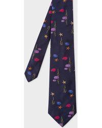 Paul Smith | Men's Navy Embroidered 'Fish' Silk Tie | Lyst