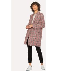 Paul Smith - Navy And Red Cotton-Blend Tweed Cocoon Coat - Lyst