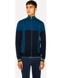 Paul Smith - Cobalt Blue Geometric Stripe Zip-Through Funnel-Neck Wool Cardigan - Lyst