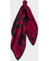 Paul Smith - Burgundy 'Villa Leopard' Print Silk Square Scarf - Lyst