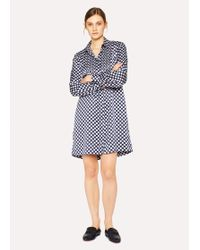 Paul Smith - Blue And White Stripe Band-Collar Cotton Dress - Lyst