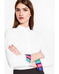 Paul Smith - Women's White Stretch-cotton Shirt With 'cycle Stripe' Cuff Linings - Lyst