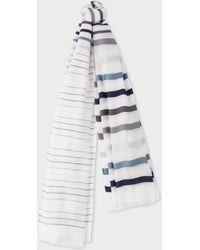 Paul Smith - Sheer Grey And Navy Stripe Cotton-Blend Scarf - Lyst