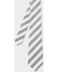 Paul Smith - Black And White Diagonal Stripe Linen-Silk Tie - Lyst