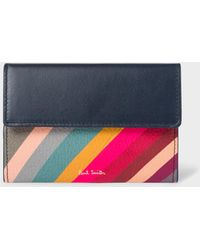 Paul Smith - Navy 'Swirl' Leather Zip Pouch - Lyst