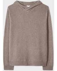 Paul Smith - Taupe Ribbed Cashmere Hooded Jumper - Lyst