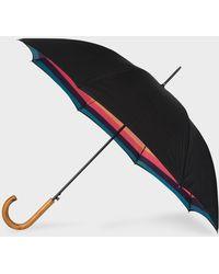 Paul Smith - Black 'artist Stripe' Canopy Walker Umbrella With Wooden Handle - Lyst