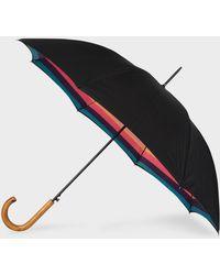 Paul Smith - Parapluie Droit Noir Canopée 'Artist Stripe' Et Pommeau En Bois - Lyst