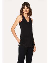 Paul Smith - Black Silk Top With Contrasting Trim - Lyst