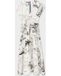 Paul Smith - Black And White 'Journal' Print V-Neck Linen-Blend Midi Dress - Lyst