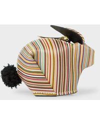 Paul Smith - 'Signature Stripe' Print Leather 'Rabbit' Zip-Pouch - Lyst