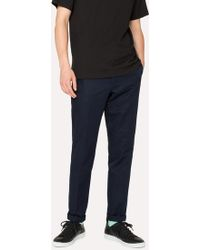 Paul Smith - Mid-Fit Navy Linen-Blend Chinos - Lyst