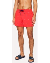Paul Smith - Short De Bain Homme Rouge Brodé 'Star' - Lyst