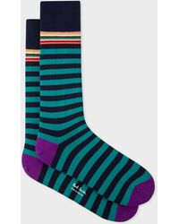 Paul Smith - Navy And Teal Stripe Socks - Lyst