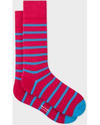 Paul Smith - Red Neon Blue Stripe Socks - Lyst