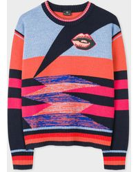 Paul Smith - Multi-Colour Stripe Sweater With 'Lips' Motif - Lyst