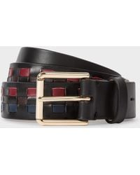 Paul Smith - Men's Black Leather 'mini Graphic Edge' Belt - Lyst