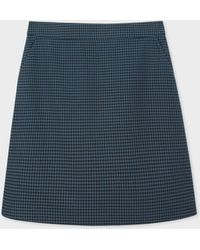 Paul Smith - Navy Houndstooth Pattern Cotton Skirt - Lyst