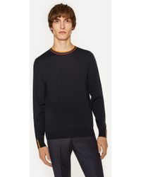 Paul Smith - Navy Merino-Wool Jumper With 'Artist Stripe' Collar And Cuffs - Lyst