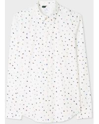 Paul Smith | Men's Slim-Fit White Small 'Brush Strokes' Print Cotton Shirt | Lyst