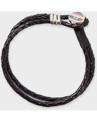 Paul Smith - Stripe Button Black Leather Bracelet - Lyst