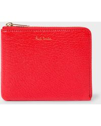 Paul Smith - Red Textured Leather Corner-Zip Wallet - Lyst