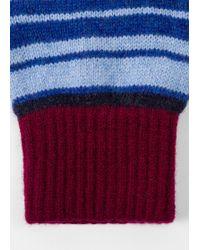 Paul Smith - Burgundy Stripe Lambswool Gloves - Lyst