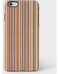 Paul Smith - Signature Stripe Leather Iphone 6 Plus Case - Lyst