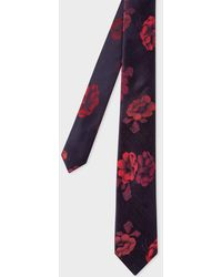 Paul Smith - Burgundy 'Rose' Jacquard Narrow Silk Tie - Lyst