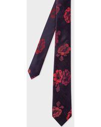 Paul Smith - Cravate Fine Homme Bordeaux Jacquard 'Rose' En Soie - Lyst