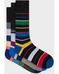 Paul Smith Mixed-stripe Black Socks Three Pack