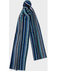 Paul Smith - Blue Signature Stripe Textured Scarf - Lyst