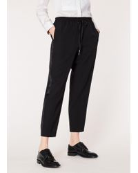Paul Smith - Black Wool Drawstring Tuxedo Trousers With Satin Stripe - Lyst