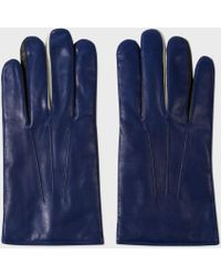 Paul Smith - Men's Dark Blue Leather Concertina Gloves - Lyst
