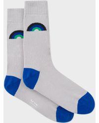 Paul Smith   Men's Grey Ribbed 'rainbow' Jacquard Socks   Lyst