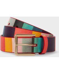 Paul Smith - Men's 'artist Stripe' Print Leather Belt - Lyst