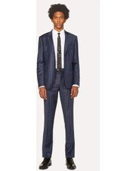 Paul Smith - Slim-Fit Navy Check Wool Suit - Lyst
