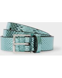 Paul Smith - Turquoise Metallic Snake-Effect Leather Belt - Lyst