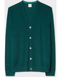 Paul Smith - Green Merino Wool Cardigan With Contrast Internal Trims - Lyst