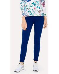 Paul Smith - Women's Skinny-fit Blue Brushed Denim Jeans - Lyst