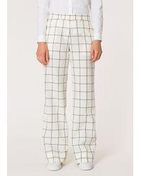 Paul Smith - Ecru Check Seersucker Wool-blend Wide Leg Trousers - Lyst