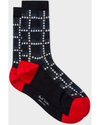 Paul Smith - Navy Dot-Check Semi-Sheer Socks - Lyst