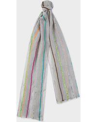 Paul Smith - Écharpe Grise À Rayures Multicolores En Jacquard - Lyst