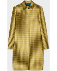 Paul Smith - Yellow Check Cotton-blend Car Coat - Lyst